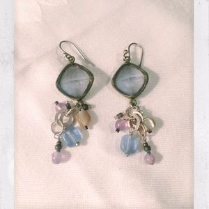 Sterling Silver, Amethyst, and Brass Earrings